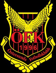 Gul, svart och röd logga för Östersunds Fotbollsklubb, en örn